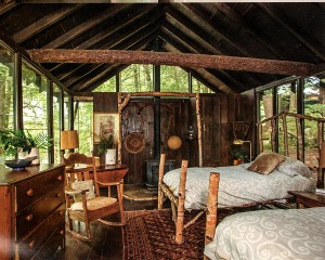A beautiful bedroom cabin at Camp Tapawingo in the Adirondacks. Featured in the 2015 Home Issue of Adirondack Life magazine.