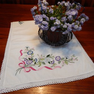 Antique embroidered table runner